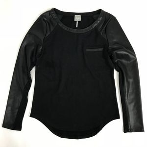 NWOT Bobi Black Long Sleeve Shirt Faux Leather